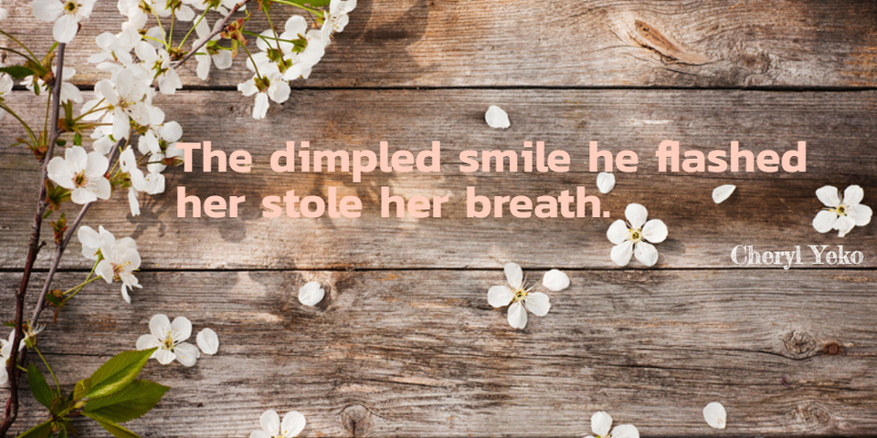the dimpled smile he flashed her stole her breath...