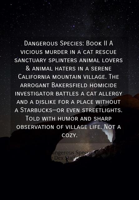 dangerous species book ii a vicious murder in a cat rescue sanctuary splinters animal...