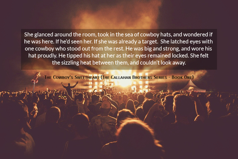 she glanced around the room took in the sea of cowboy hats and wondered if he was here...