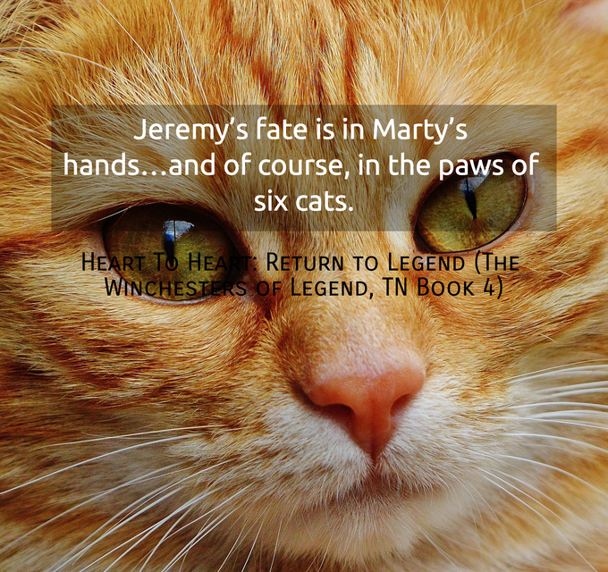 jeremys fate is in martys handsand of course in the paws of six cats...