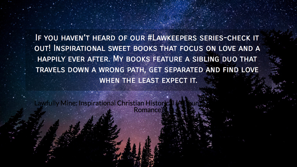 if you havent heard of our lawkeepers series check it out inspirational sweet books...