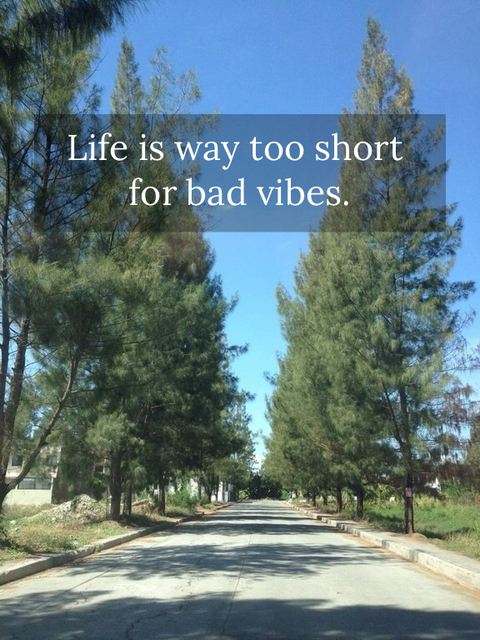 life is way too short for bad vibes...