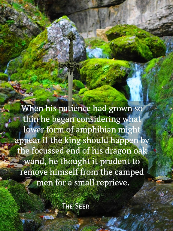when his patience had grown so thin he began considering what lower form of amphibian...