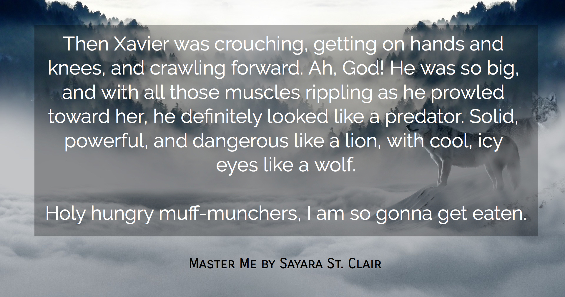 then xavier was crouching getting on hands and knees and crawling forward ah god he...