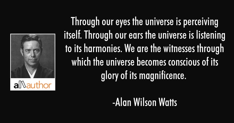 Through our eyes the universe is perceiving itself. Through our ears the universe is listening to... - Alan Wilson Watts Quote