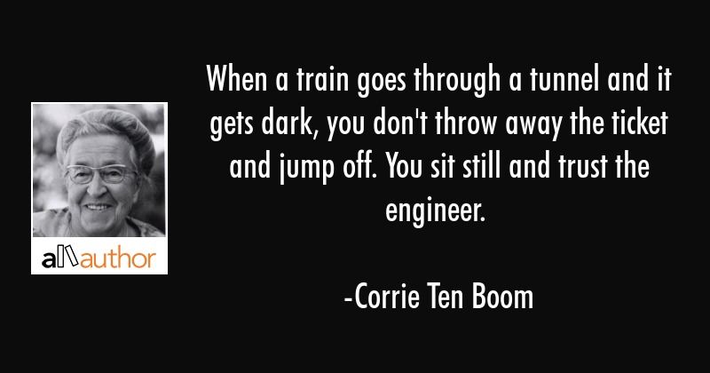 When a train goes through a tunnel and it gets dark, you don\
