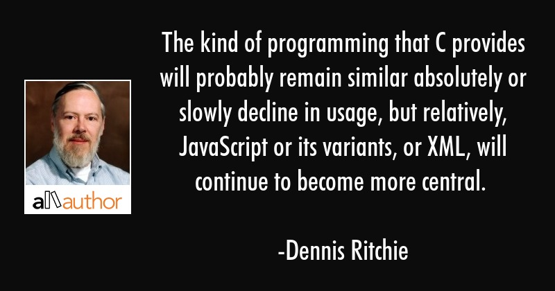 The kind of programming that C provides will probably remain similar absolutely or slowly decline... - Dennis Ritchie Quote