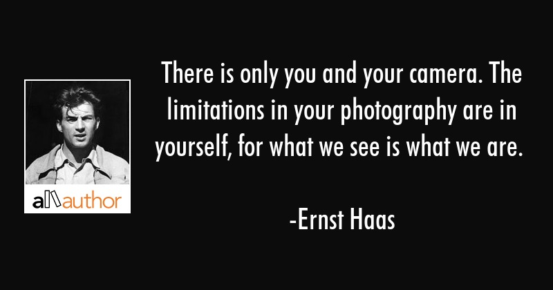 There is only you and your camera. The limitations in your photography are in yourself, for what we... - Ernst Haas Quote
