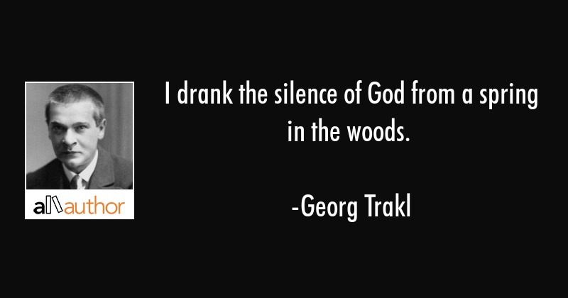 I drank the silence of God from a spring in the woods. - Georg Trakl Quote