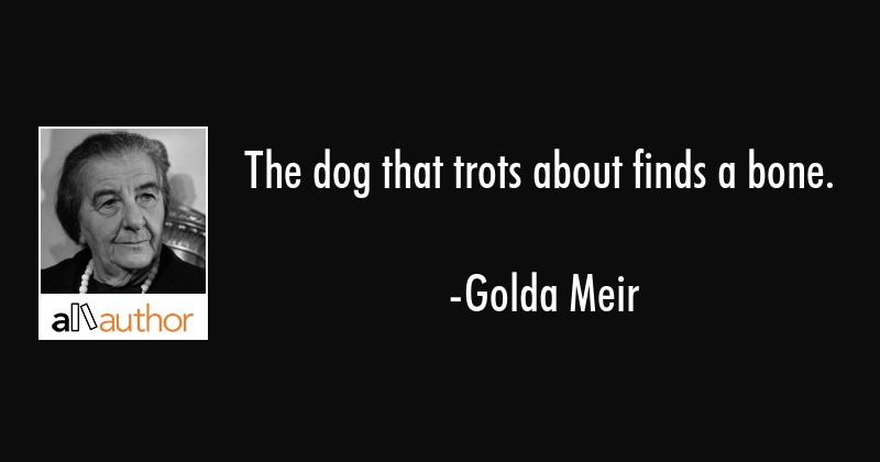 The dog that trots about finds a bone. - Golda Meir Quote