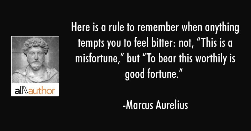 """Here is a rule to remember when anything tempts you to feel bitter: not, """"This is a... - Marcus Aurelius Quote"""