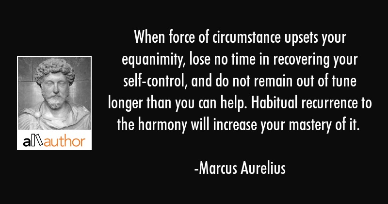 When force of circumstance upsets your equanimity, lose no time in recovering your self-control,... - Marcus Aurelius Quote