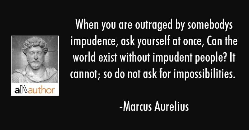 When you are outraged by somebodys impudence, ask yourself at once, Can the world exist without... - Marcus Aurelius Quote