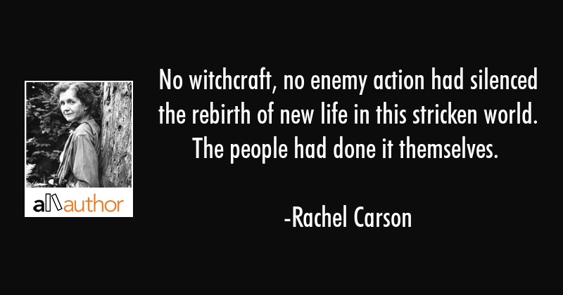 No witchcraft, no enemy action had silenced the rebirth of new life in this stricken world. The... - Rachel Carson Quote