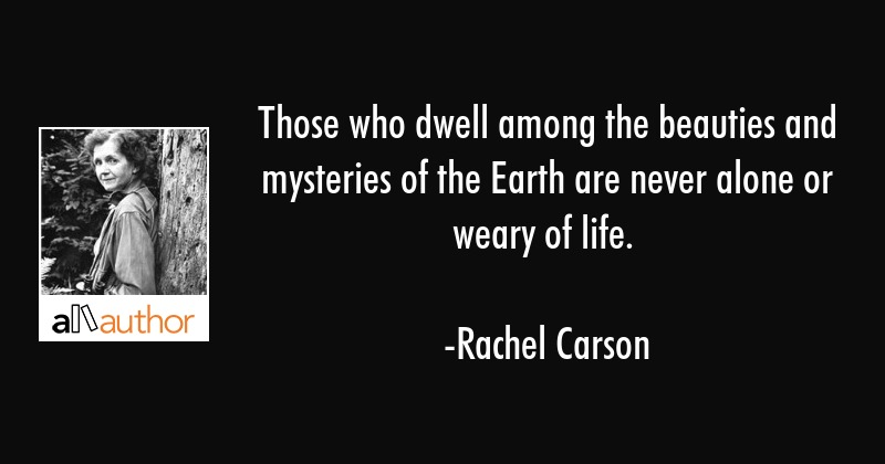Those who dwell among the beauties and mysteries of the Earth are never alone or weary of life. - Rachel Carson Quote