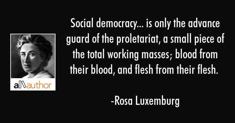 Social democracy... is only the advance guard of the proletariat, a small piece of the total... - Rosa Luxemburg Quote