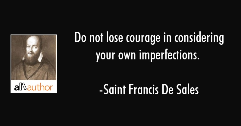 Do not lose courage in considering your own imperfections. - Saint Francis De Sales Quote
