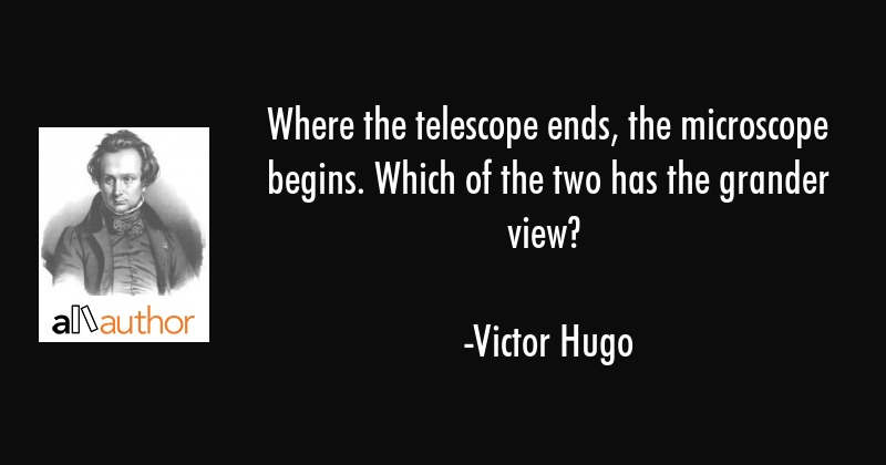 Where the telescope ends, the microscope begins. Which of the two has the grander view? - Victor Hugo Quote